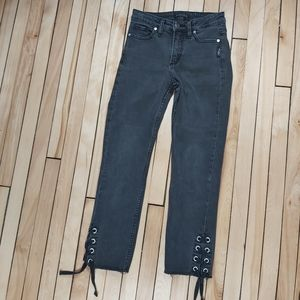 📣2/36$📣 Silver Mazy Slim ankle lace gray jeans